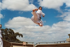 Flying side kick good